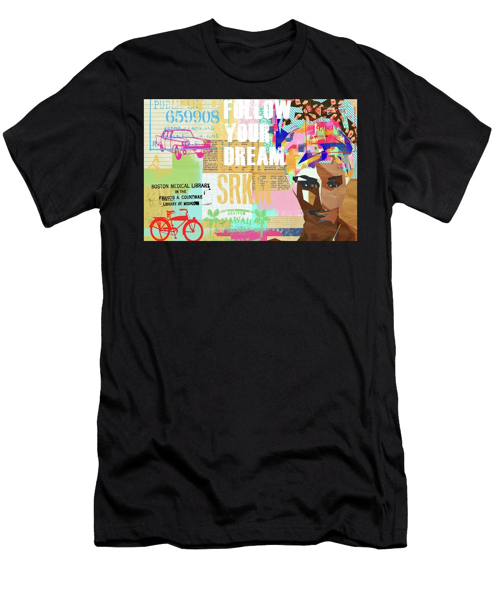 Follow Your Dream Men's T-Shirt (Athletic Fit) featuring the mixed media Follow Your Dream Collage by Claudia Schoen