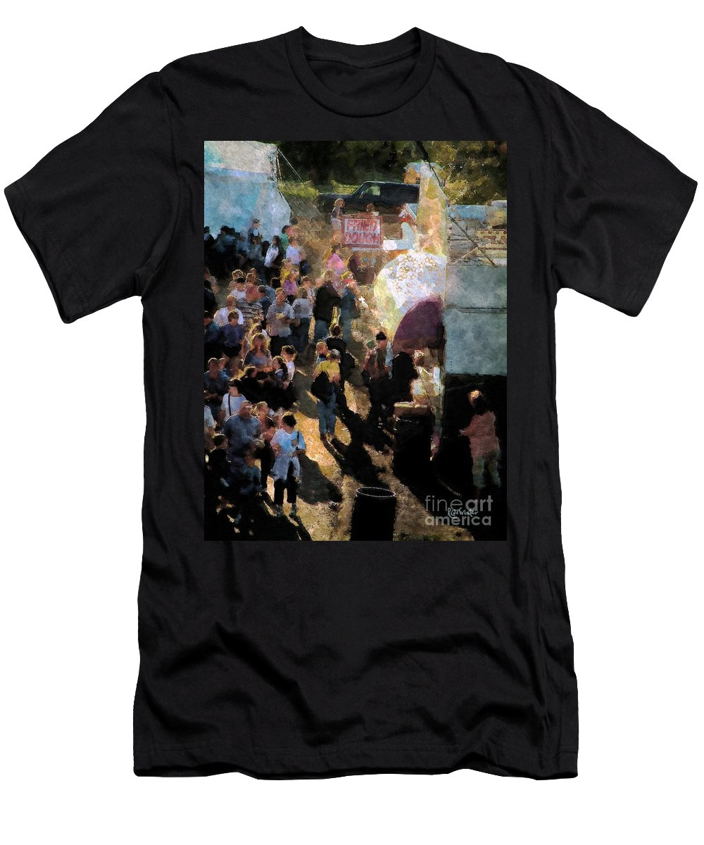 Americana Men's T-Shirt (Athletic Fit) featuring the painting Food Alley At The Country Fair by RC DeWinter