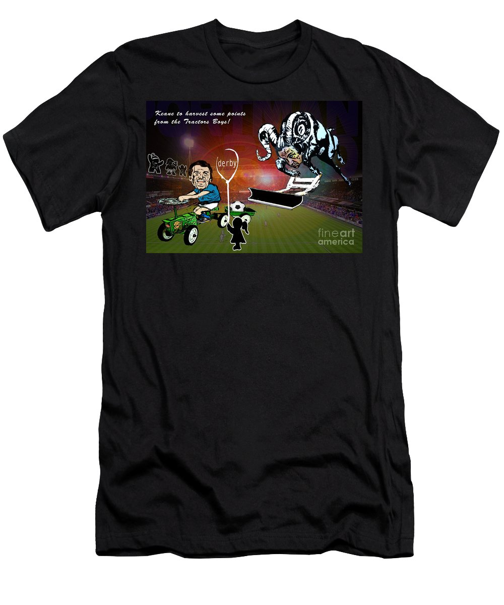 Men's T-Shirt (Athletic Fit) featuring the painting Football Derby Rams Against Ipswich Tractor Boys by Miki De Goodaboom