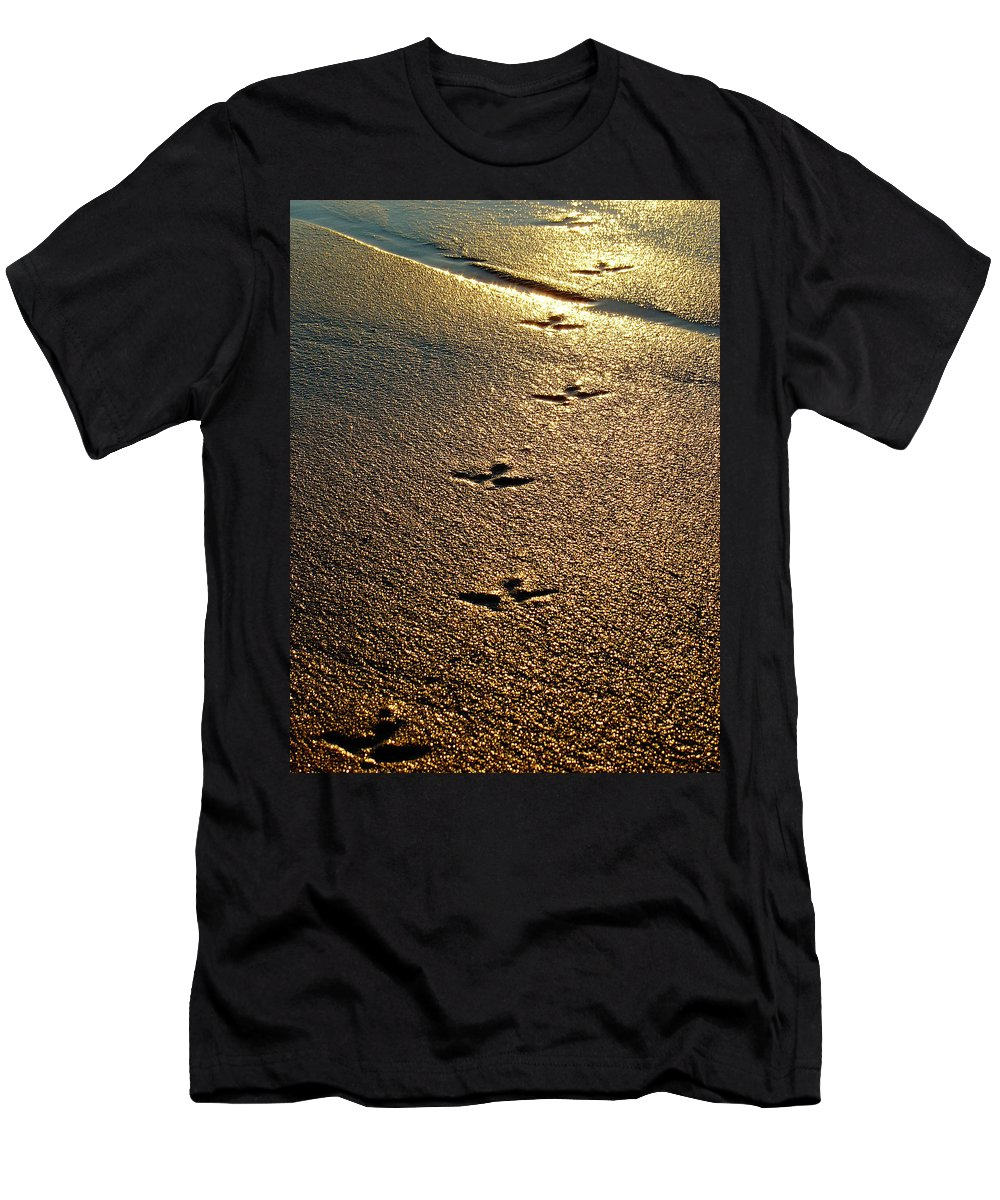 Sand Men's T-Shirt (Athletic Fit) featuring the photograph Footprints - Bird by Jill Reger