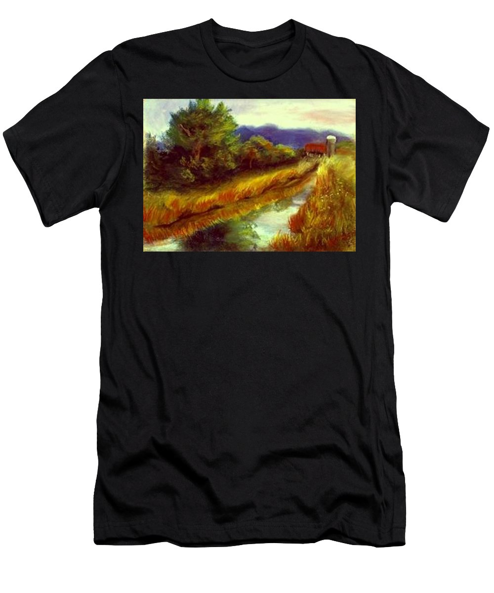Landscape Men's T-Shirt (Athletic Fit) featuring the painting For A Thirsty Land by Gail Kirtz