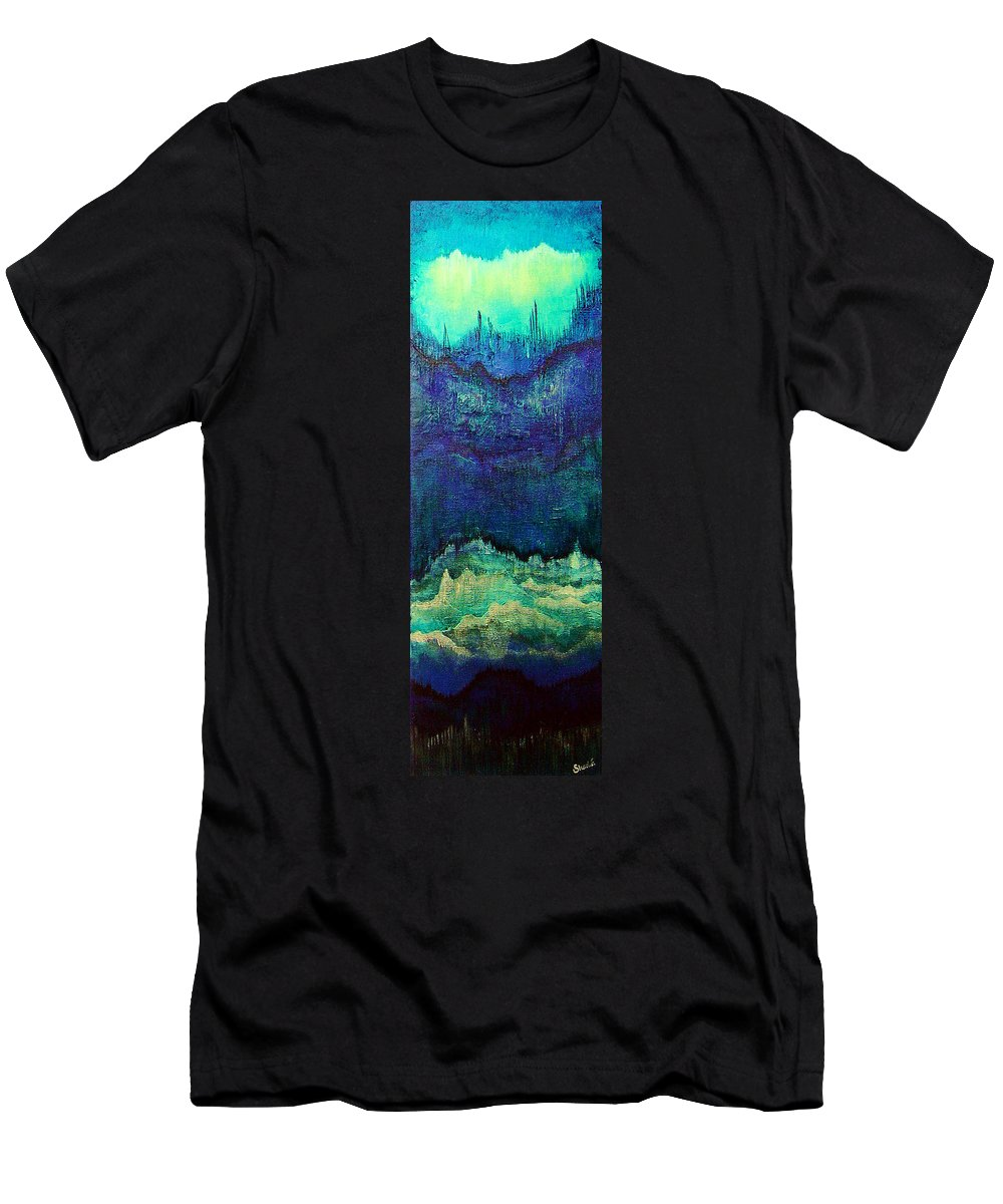 Blue Men's T-Shirt (Athletic Fit) featuring the painting For Linda by Shadia Derbyshire