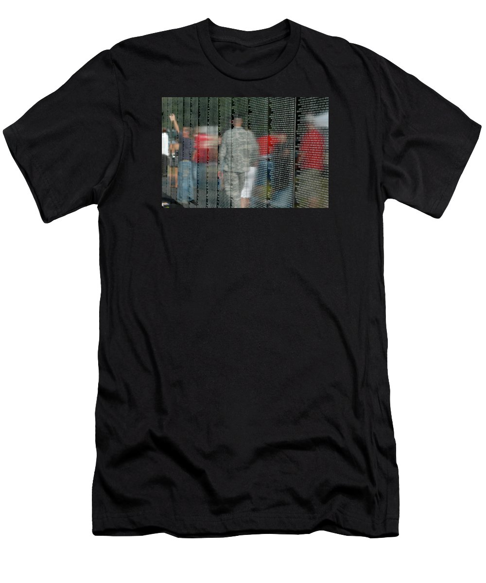 Traveling Vietnam Wall Men's T-Shirt (Athletic Fit) featuring the photograph For My Country by Carolyn Marshall