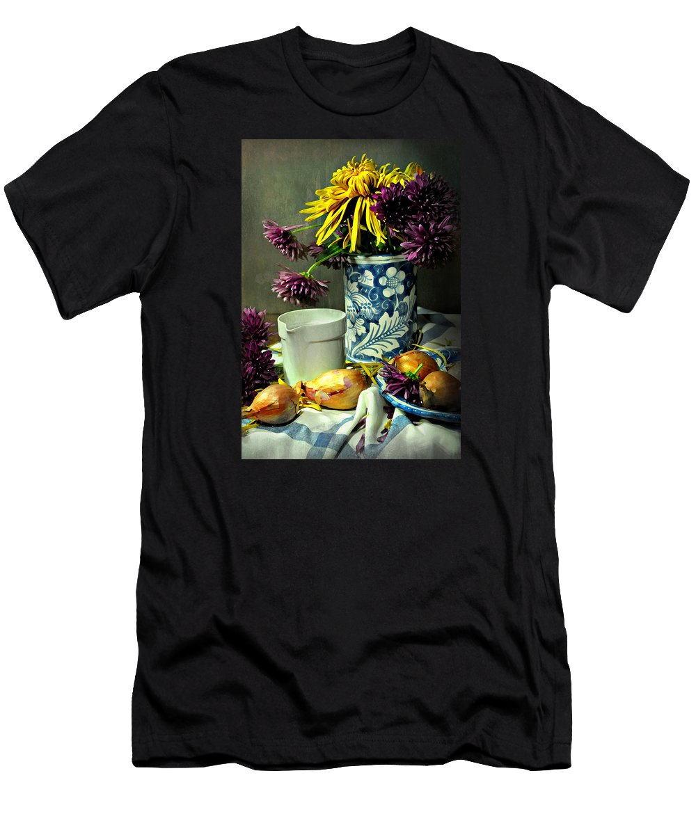 Still Life Men's T-Shirt (Athletic Fit) featuring the photograph For The Day Book by Diana Angstadt