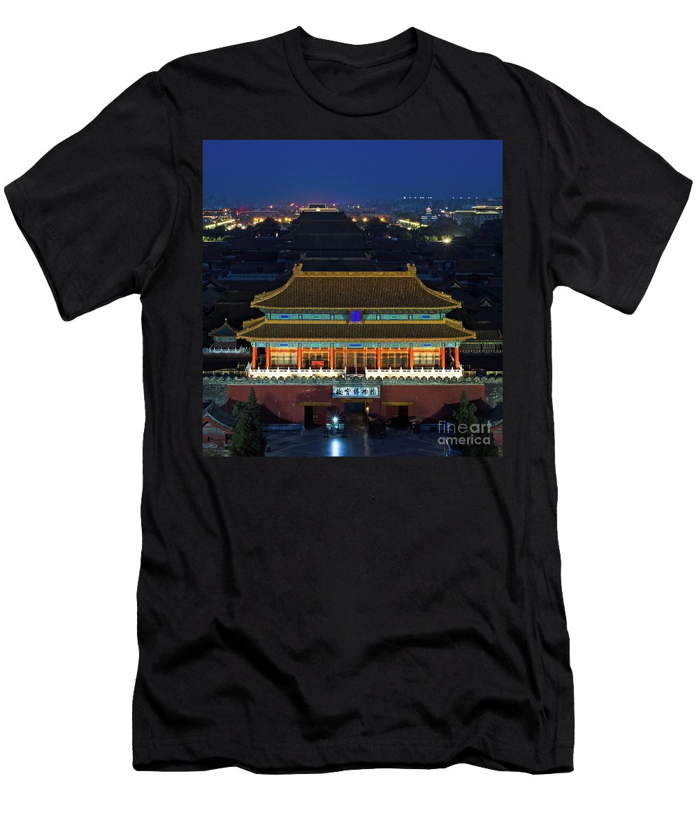 Beijing Men's T-Shirt (Athletic Fit) featuring the photograph Forbidden City By Night by Paul Martin