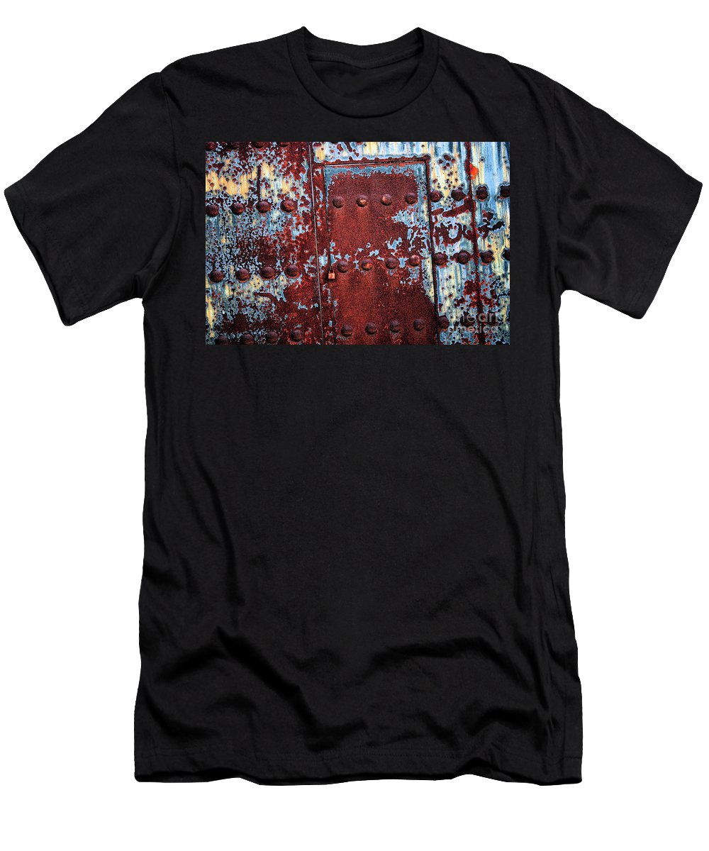 Rust Men's T-Shirt (Athletic Fit) featuring the photograph Forbidden Door by Carol Groenen