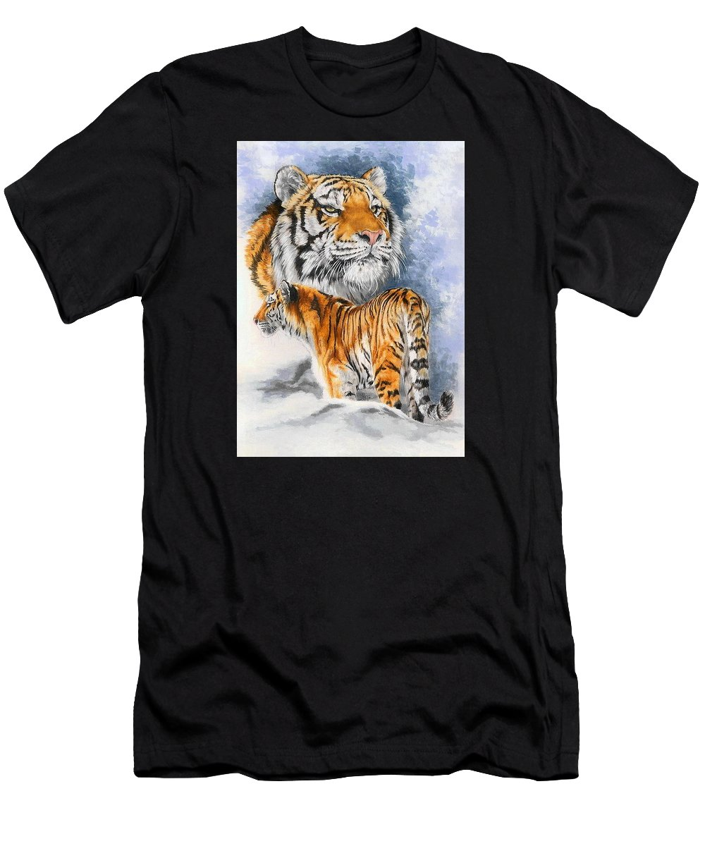 Big Cats Men's T-Shirt (Athletic Fit) featuring the mixed media Forceful by Barbara Keith