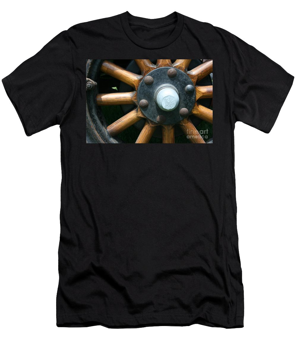 Wagon Men's T-Shirt (Athletic Fit) featuring the photograph Ford Wagon Wheel by Dawn Downour