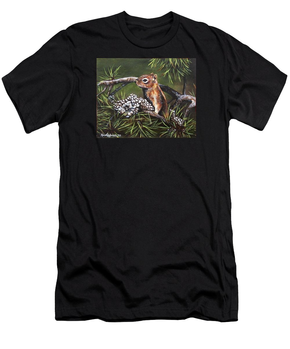 Wildlife Men's T-Shirt (Athletic Fit) featuring the painting Forest Friend by Kim Lockman