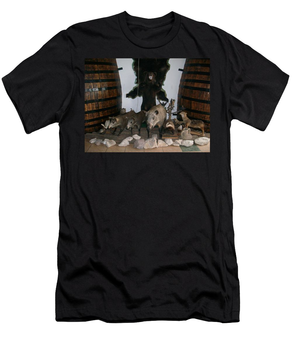 Animals Men's T-Shirt (Athletic Fit) featuring the photograph Forest Friendship by Georgeta Blanaru