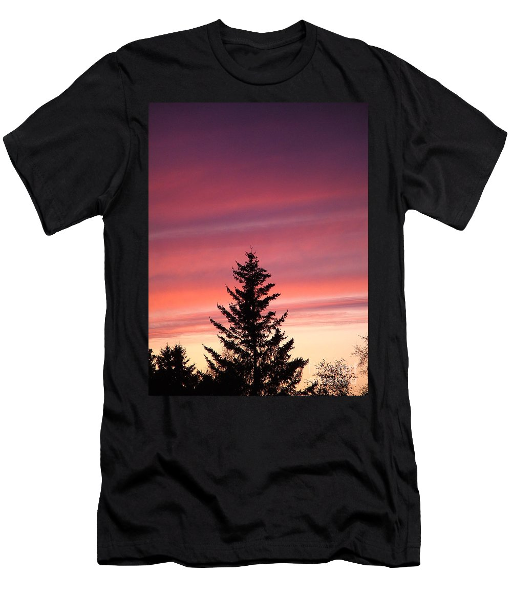 Sunset Photo Men's T-Shirt (Athletic Fit) featuring the photograph Forest Grove Sunset by Nick Gustafson