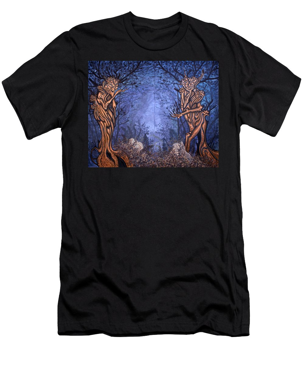 Mystic Men's T-Shirt (Athletic Fit) featuring the painting Forest by Judy Henninger
