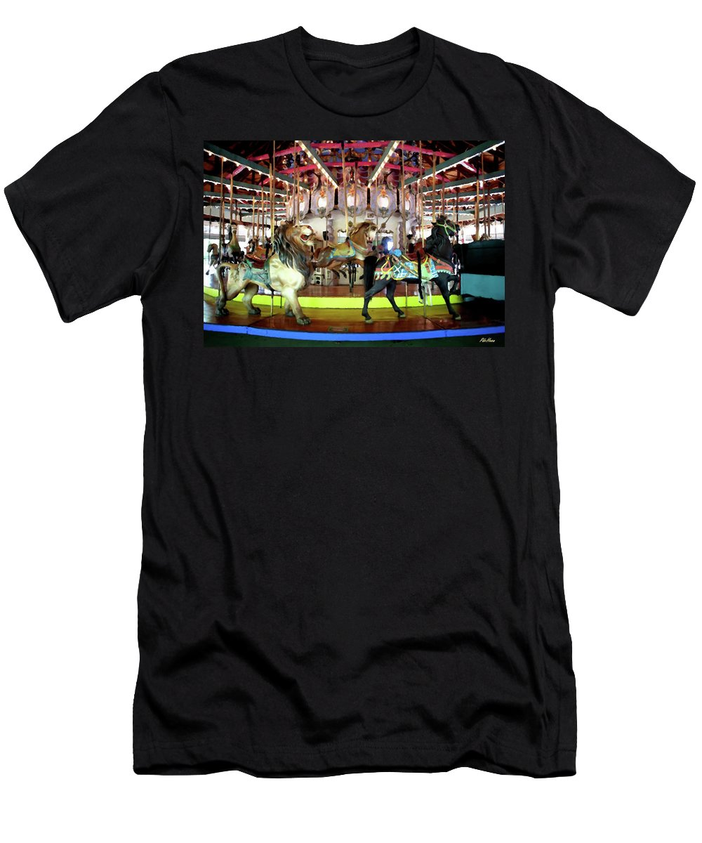 Carousel Men's T-Shirt (Athletic Fit) featuring the mixed media Forest Park Carousel by Peggy De Haan