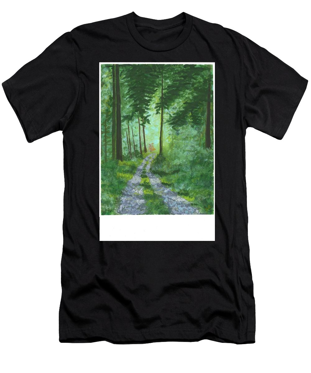Landscape Men's T-Shirt (Athletic Fit) featuring the painting Forest Path 2 by Stephen Riffe