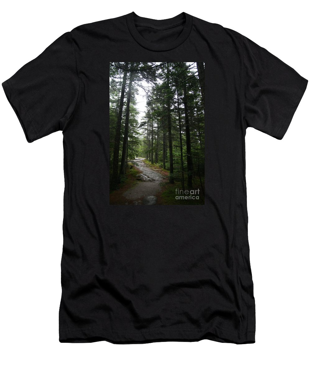 Forest Path Men's T-Shirt (Athletic Fit) featuring the photograph Forest Path At Grafton Notch State Park by Neal Eslinger