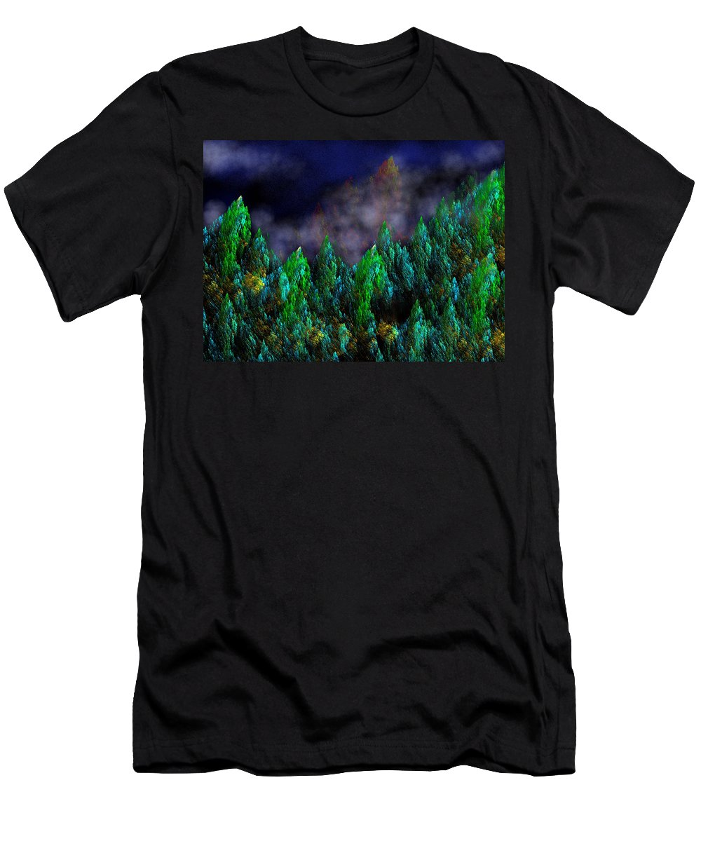 Abstract Digital Painting Men's T-Shirt (Athletic Fit) featuring the digital art Forest Primeval by David Lane