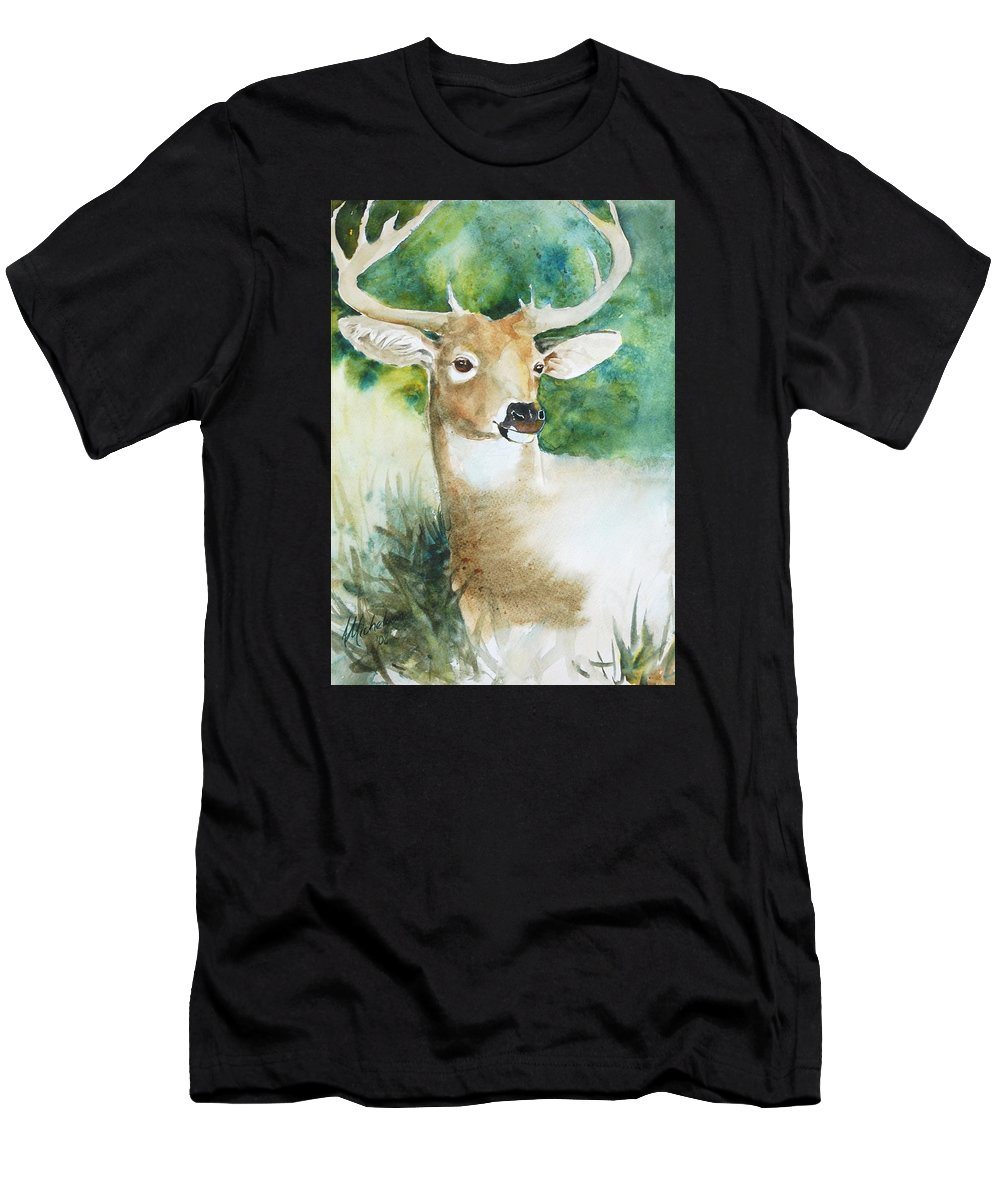 Deer Men's T-Shirt (Athletic Fit) featuring the painting Forest Spirit by Christie Martin
