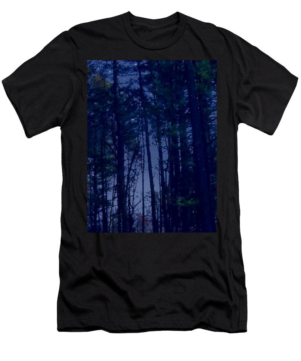 Forest Men's T-Shirt (Athletic Fit) featuring the painting Forest Starlight by Paul Sachtleben