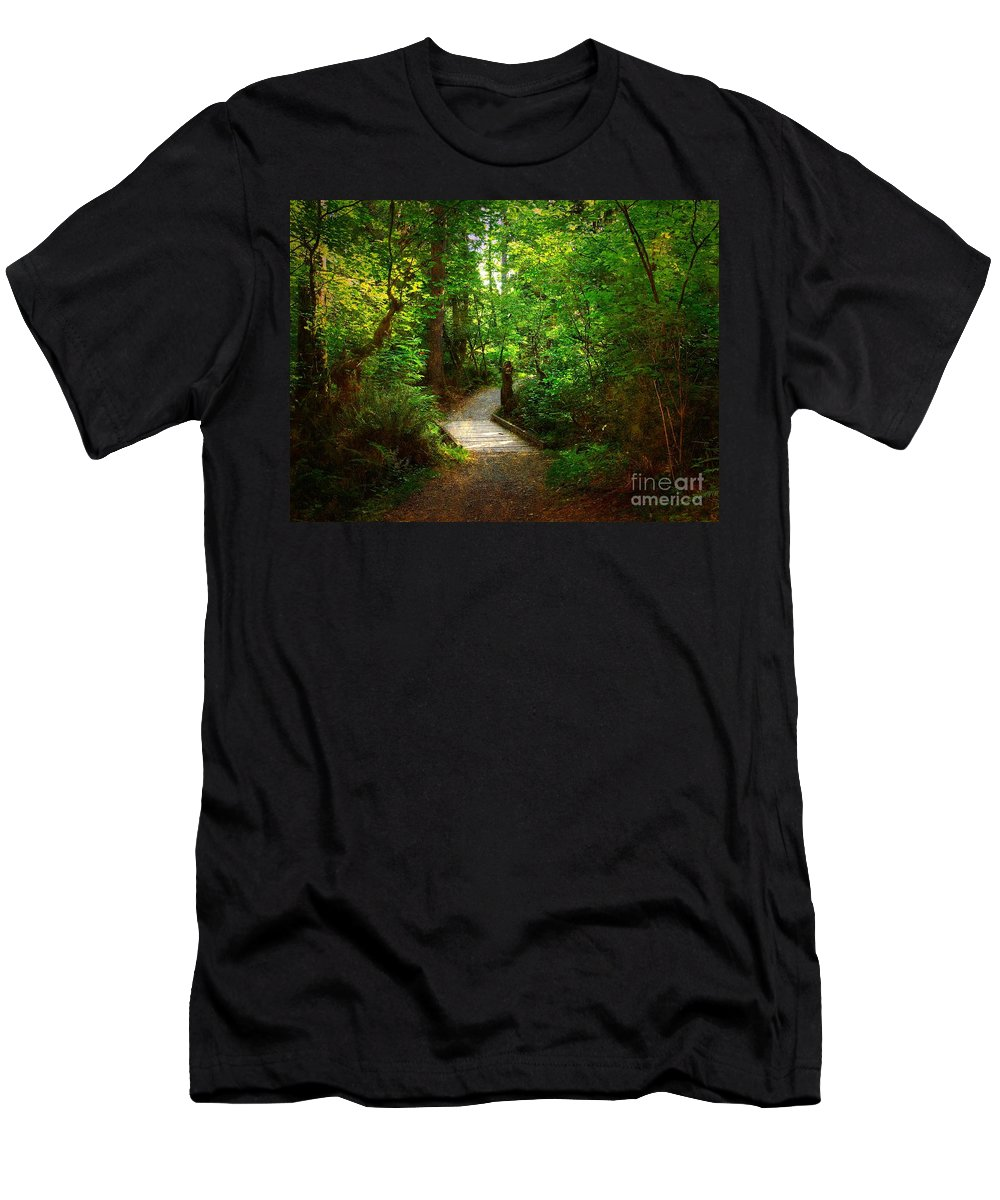 Trail Men's T-Shirt (Athletic Fit) featuring the photograph Forest Trail by Sharon Talson