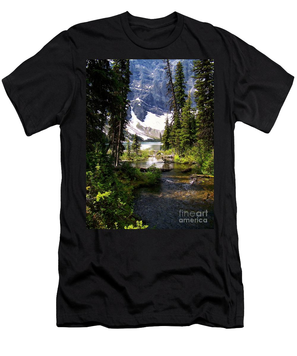 Crystal Clear Creek Men's T-Shirt (Athletic Fit) featuring the photograph Forest View To Mountain Lake by Greg Hammond