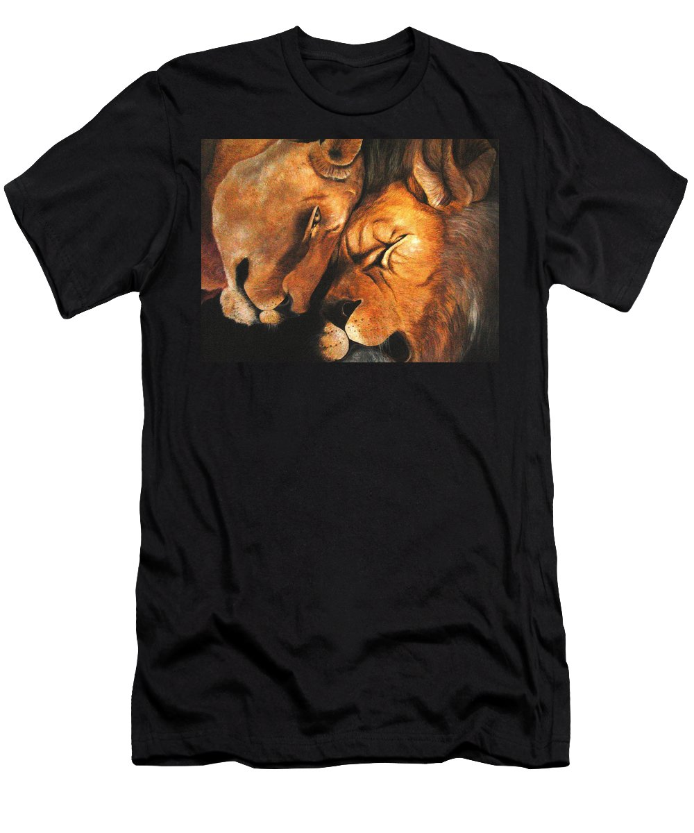 Lion Men's T-Shirt (Athletic Fit) featuring the painting Forgiven by Glory Fraulein Wolfe