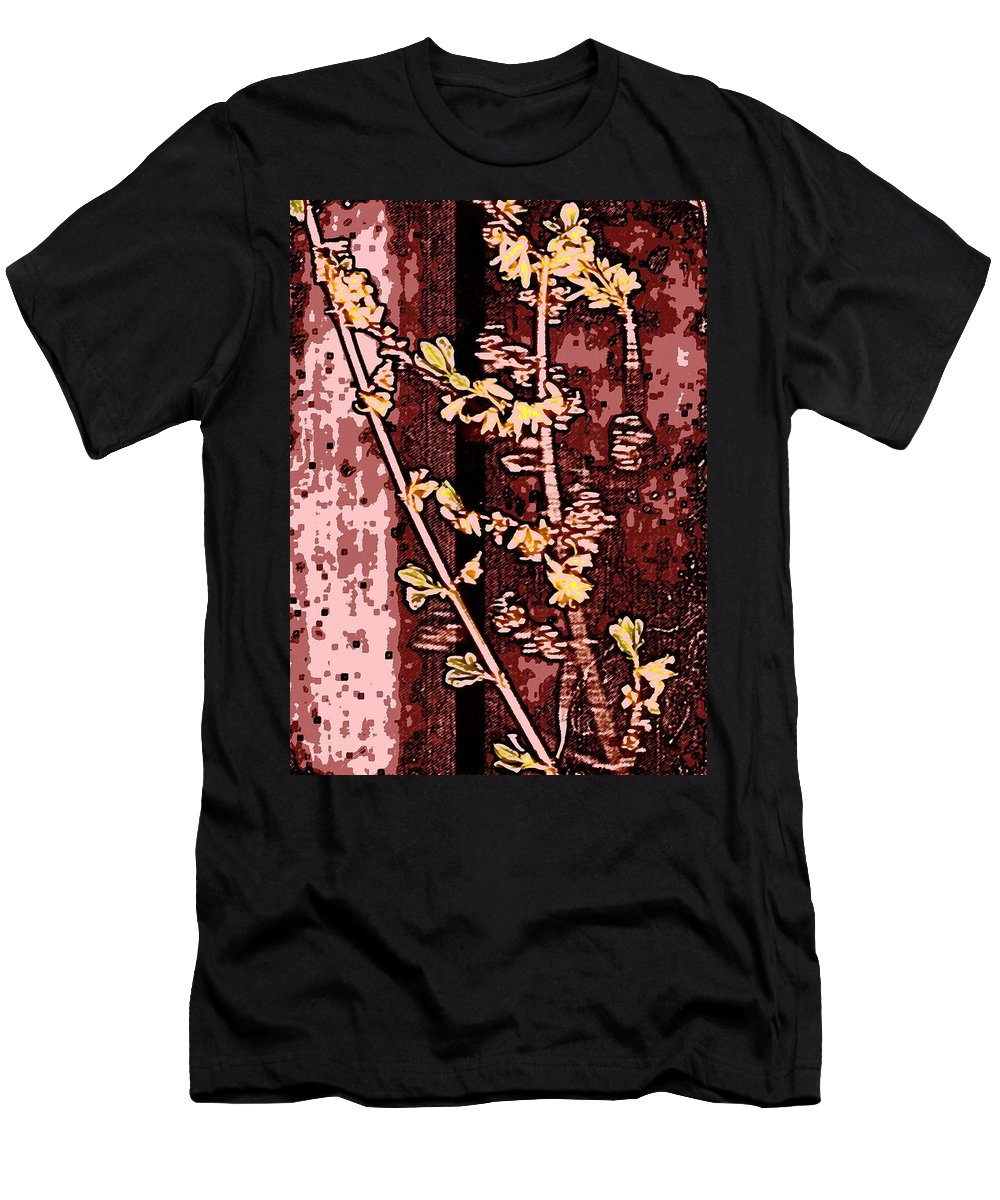 Flower Men's T-Shirt (Athletic Fit) featuring the photograph Forsythia Branch by Wayne Potrafka