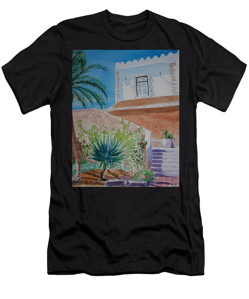 Townscape Men's T-Shirt (Athletic Fit) featuring the painting Fort Entrance by Sandie Croft