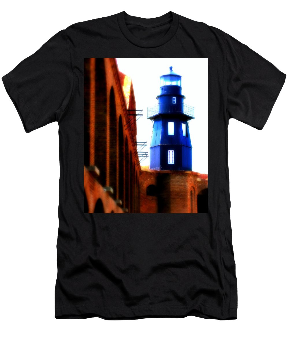 Lighthouse Men's T-Shirt (Athletic Fit) featuring the photograph Fort Jefferson Lighthouse by Perry Webster
