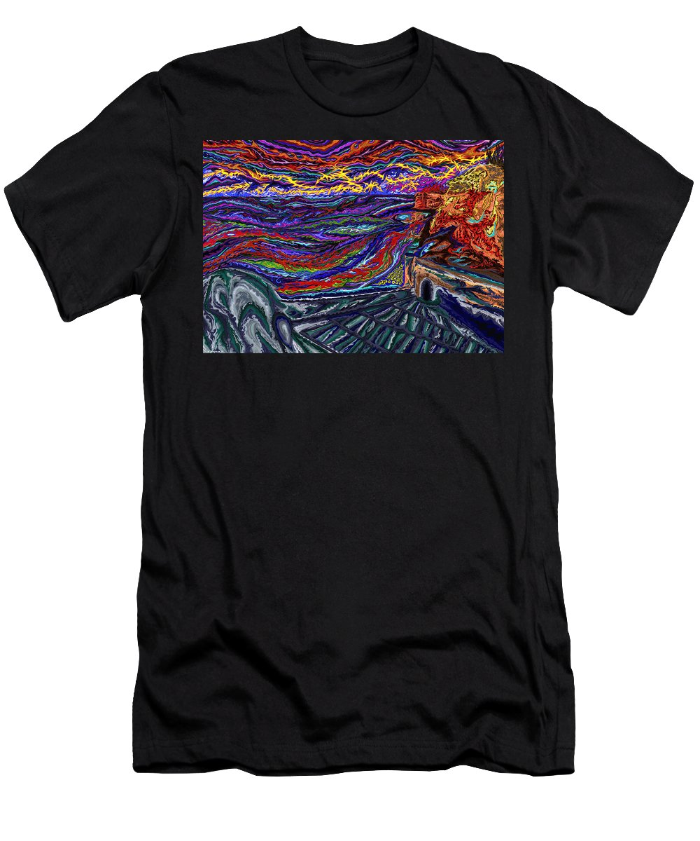Morocco Men's T-Shirt (Athletic Fit) featuring the painting Fortresse De Tanger by Robert SORENSEN
