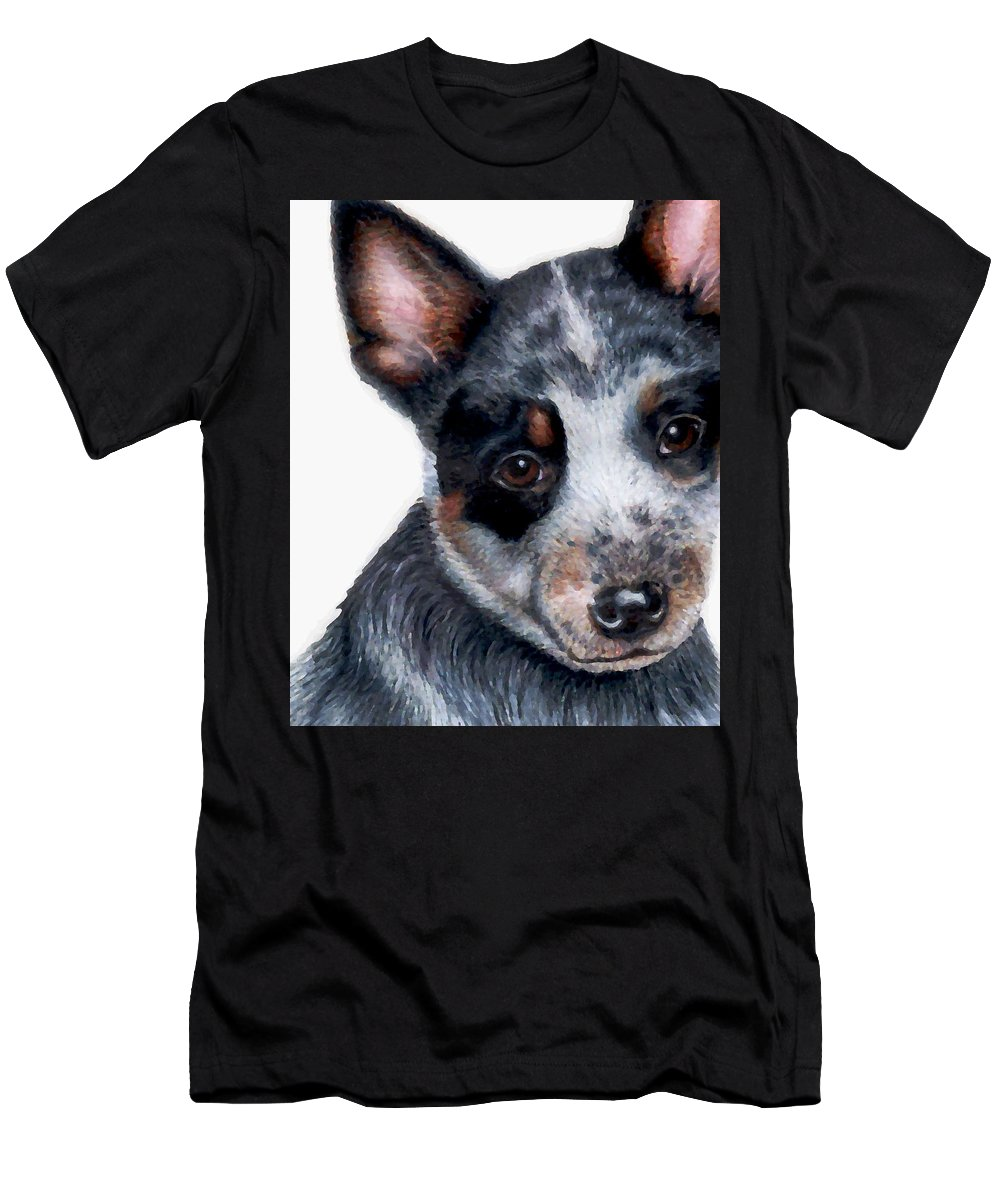 Australian Cattle Dog Men's T-Shirt (Athletic Fit) featuring the drawing Foster Detail by Kristen Wesch