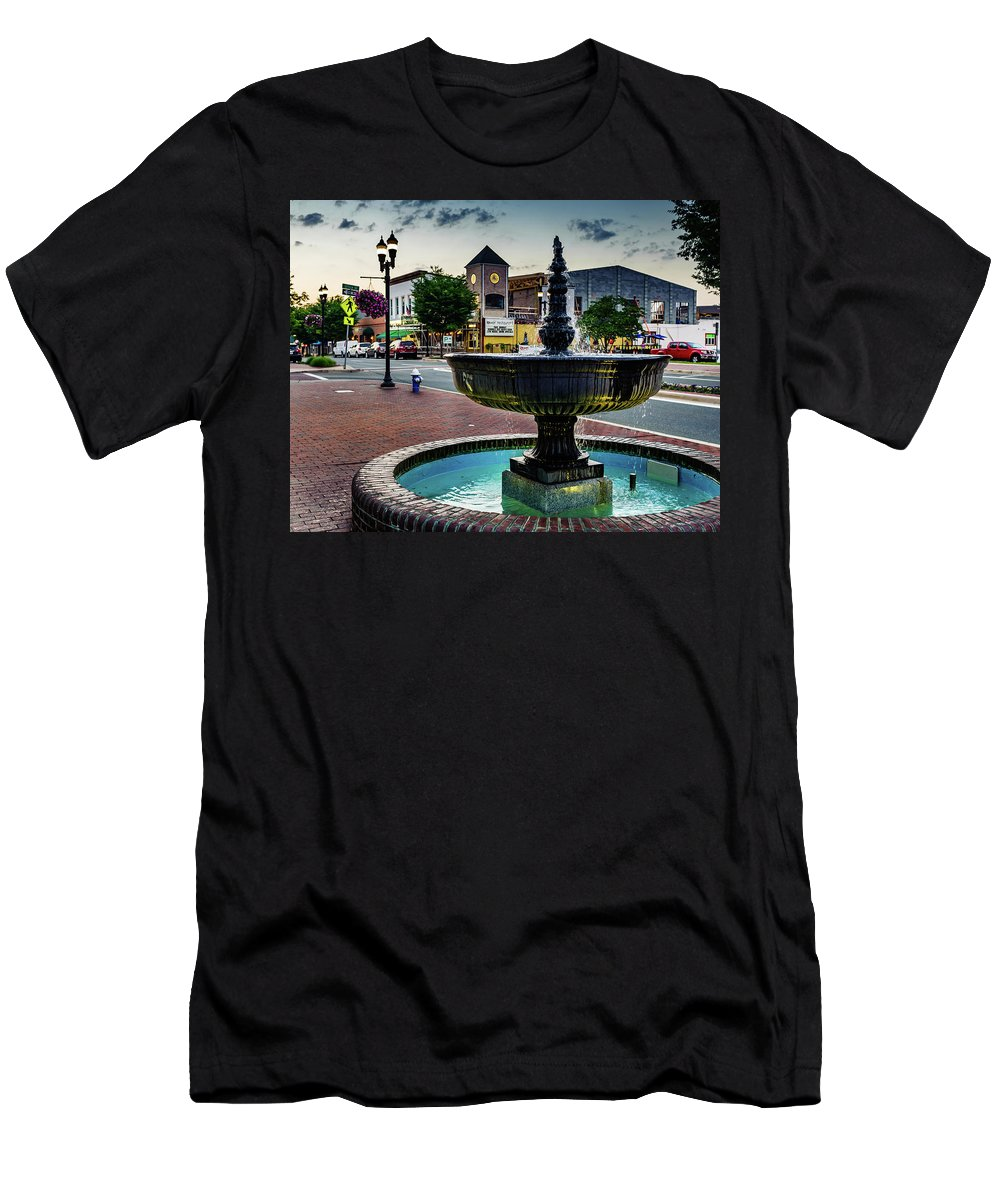 2017 Men's T-Shirt (Athletic Fit) featuring the photograph Fountain In Small Town by Jim Archer