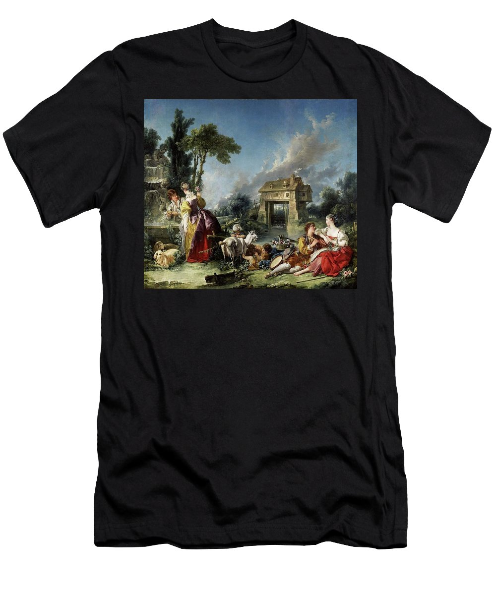 Fran�ois Boucher (paris 1703-1770) - Fountain Of Love Men's T-Shirt (Athletic Fit) featuring the painting Fountain Of Love by MotionAge Designs