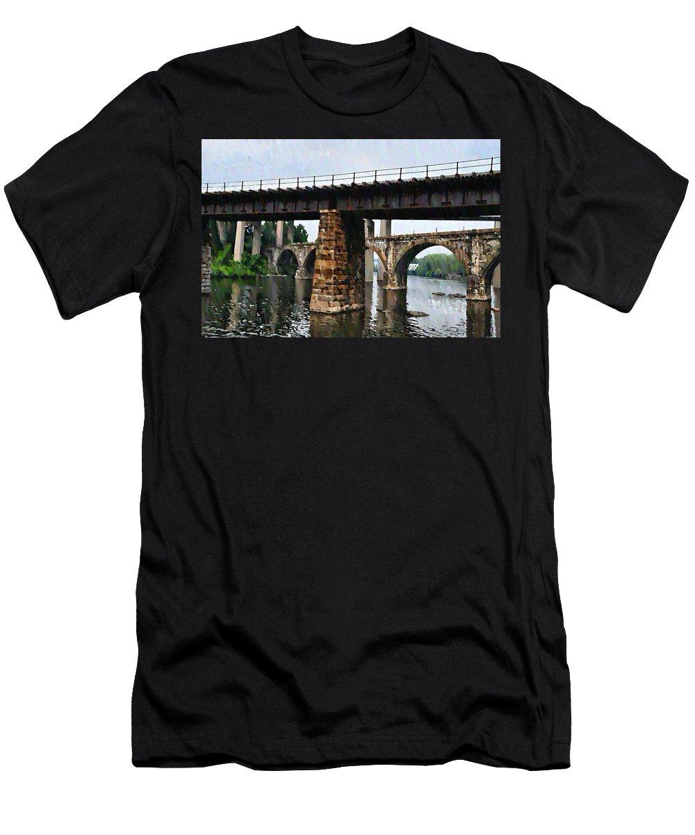 Bridge Men's T-Shirt (Athletic Fit) featuring the photograph Four Bridges Of East Falls by Bill Cannon
