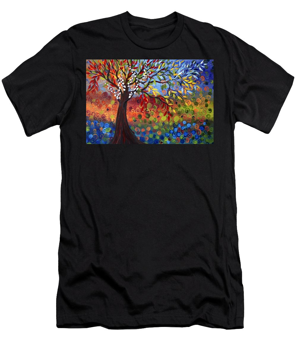 Art Men's T-Shirt (Athletic Fit) featuring the painting Four Seasons by Luiza Vizoli