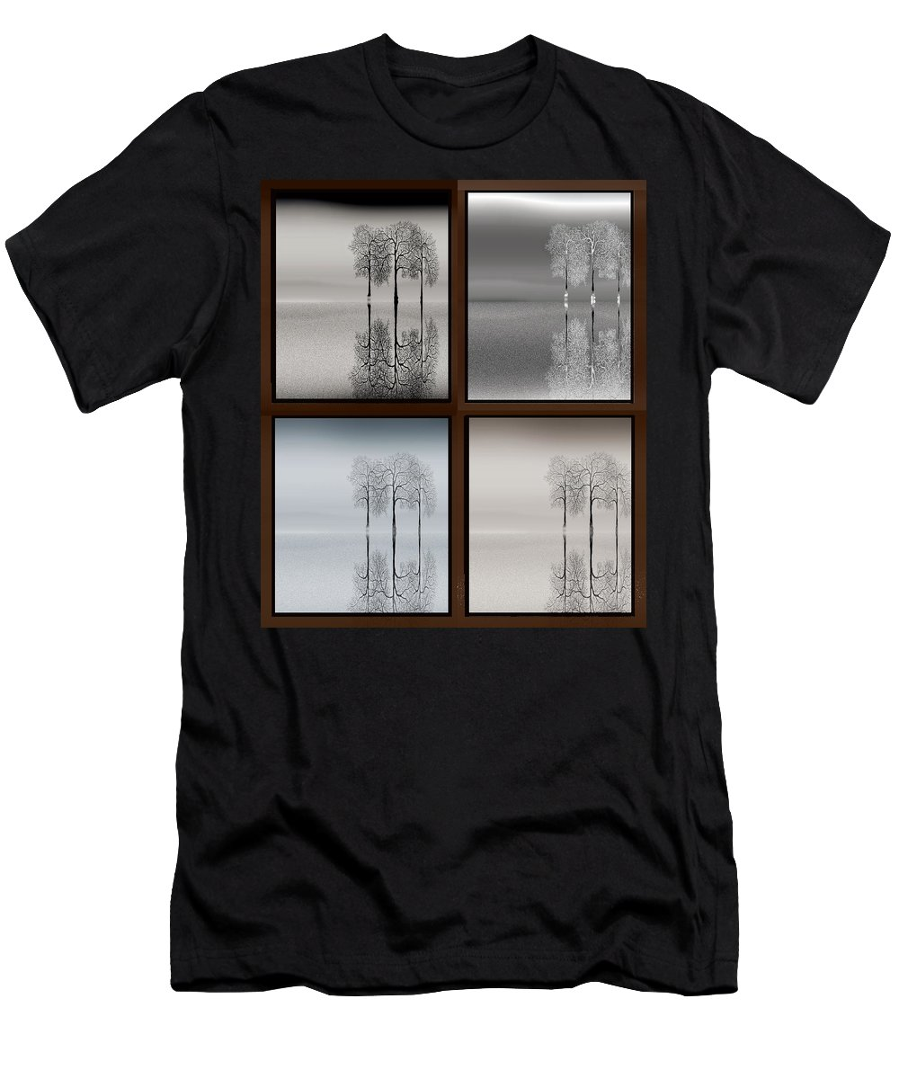 Trees Seasons Winter Spring Summer Fall Sky Water Reflection Men's T-Shirt (Athletic Fit) featuring the digital art Four Seasons by Tony Kroll