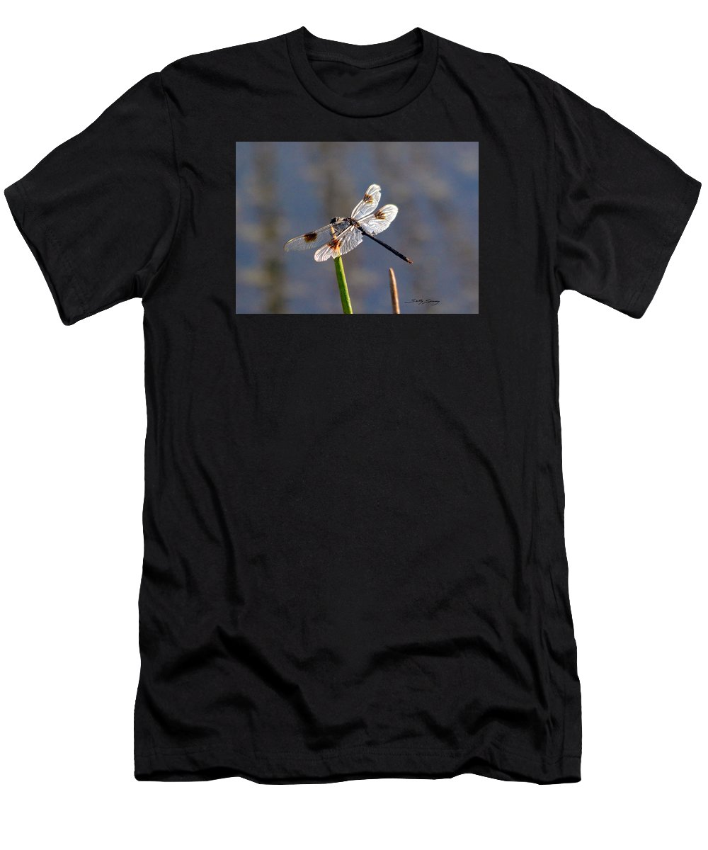Four Spotted Pennant Men's T-Shirt (Athletic Fit) featuring the pyrography Four Spotted Pennant On A Reed by Sally Sperry