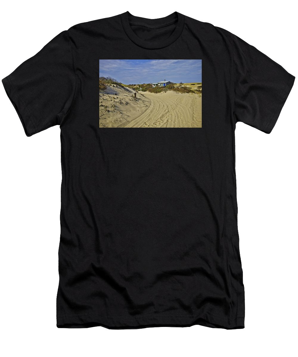 Dune Shack Men's T-Shirt (Athletic Fit) featuring the photograph Fowler Shack Approach by Marisa Geraghty Photography