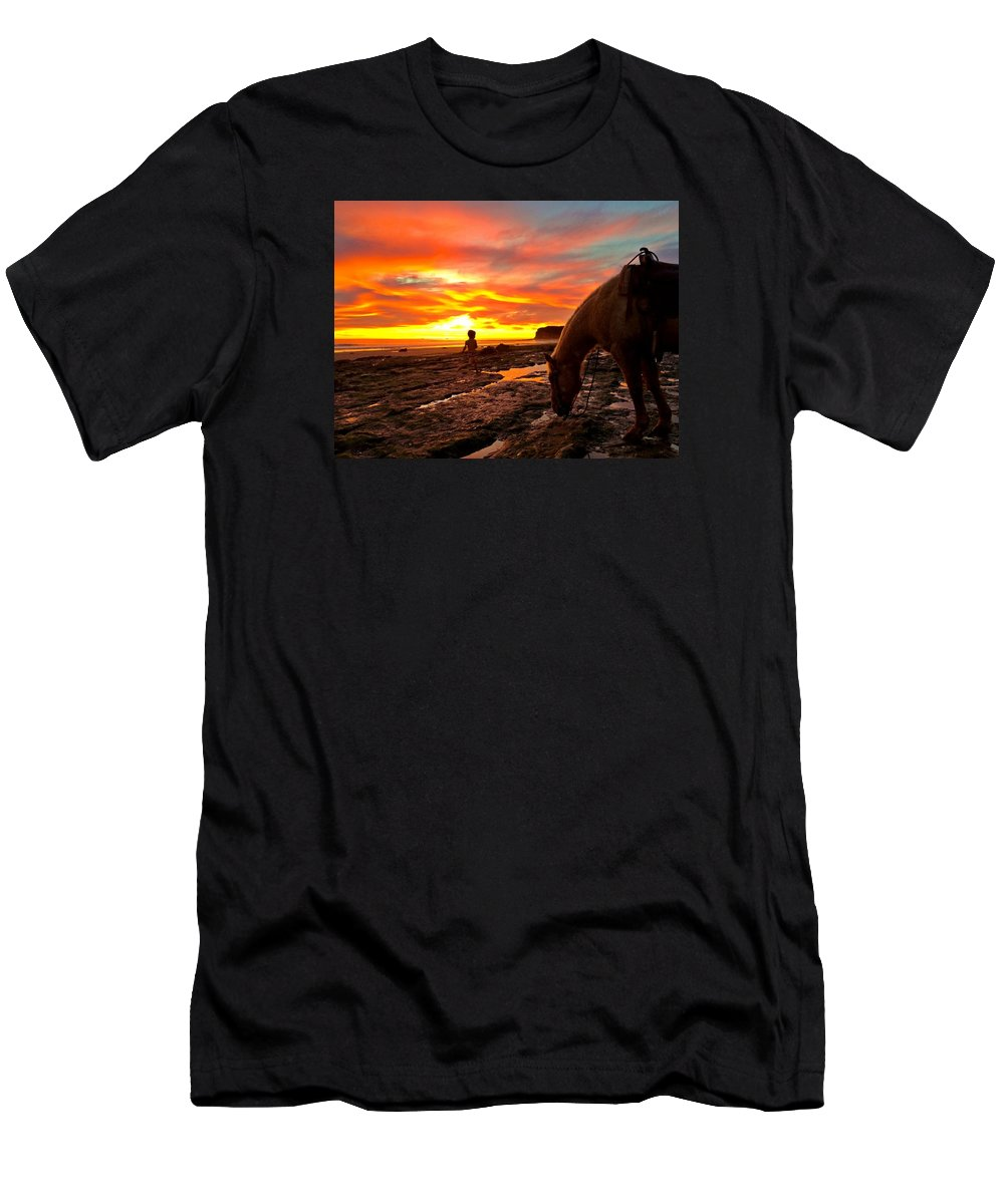 Sunset Men's T-Shirt (Athletic Fit) featuring the photograph Fox In The Tidepools by JoJo Brown