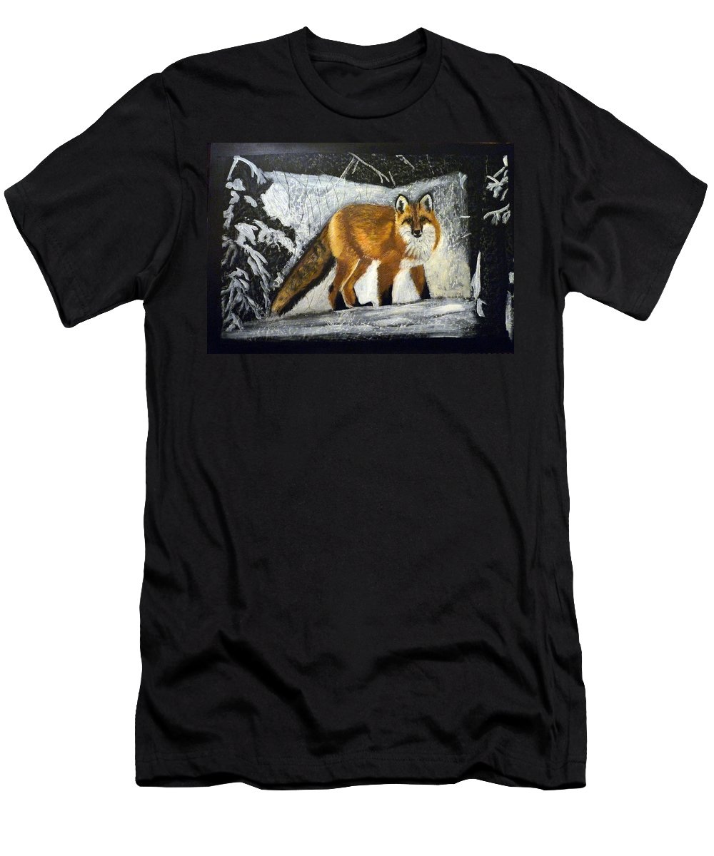Fox Men's T-Shirt (Athletic Fit) featuring the painting Fox by Richard Le Page