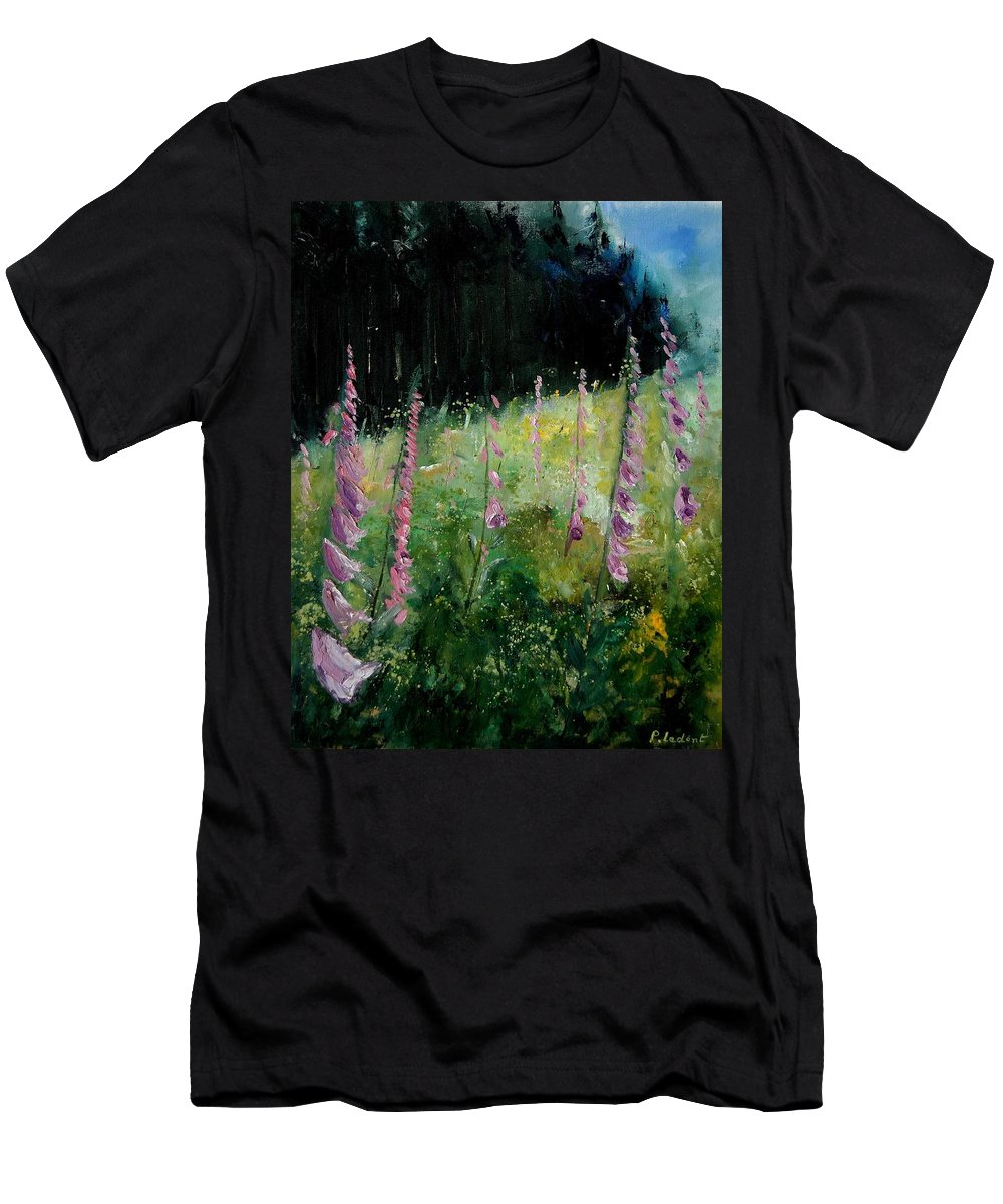 Flowers Men's T-Shirt (Athletic Fit) featuring the painting Foxgloves by Pol Ledent