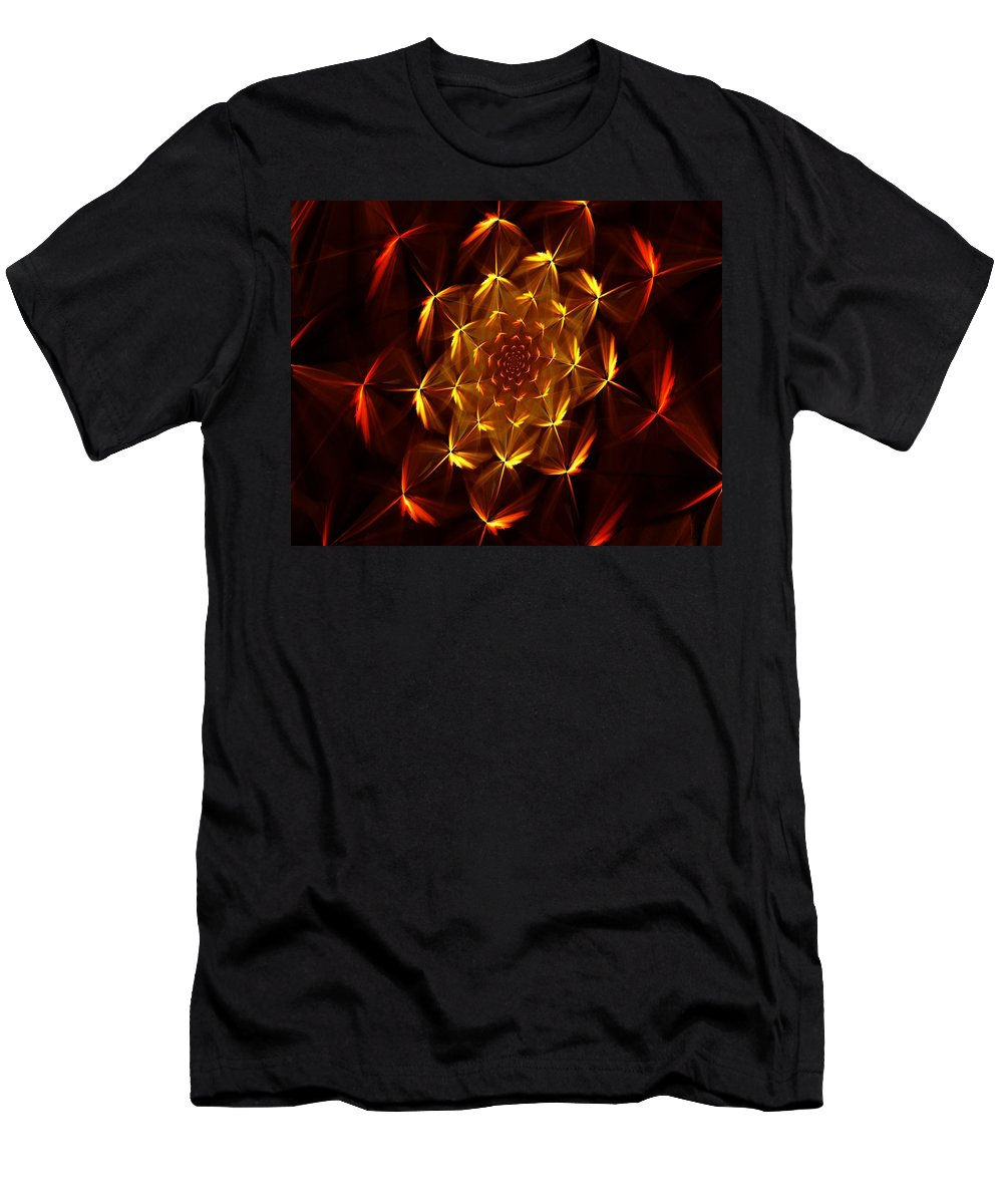 Abstract Men's T-Shirt (Athletic Fit) featuring the digital art Fractal Floral 062610a by David Lane