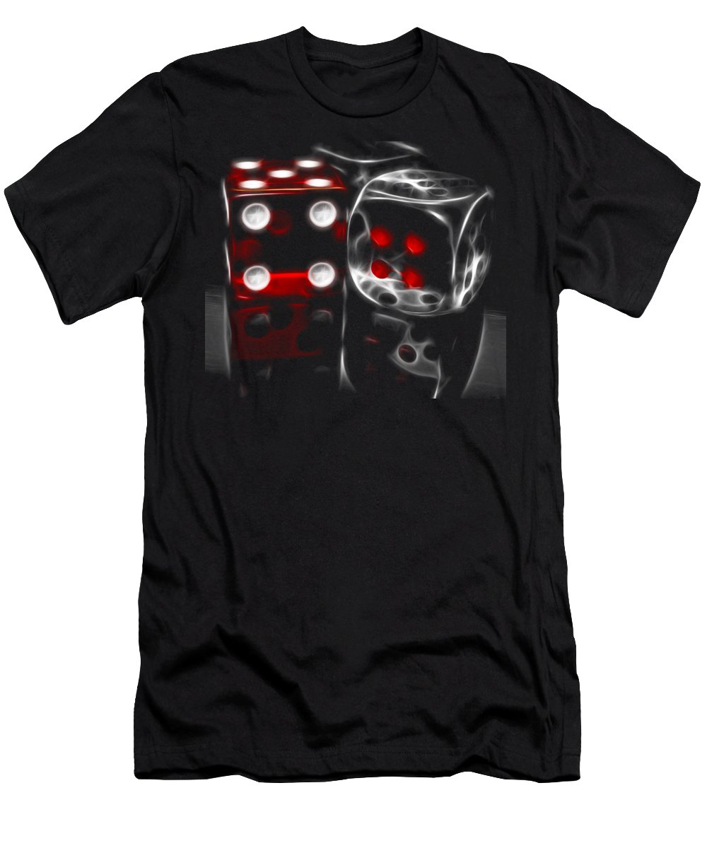 Dice Men's T-Shirt (Athletic Fit) featuring the photograph Fractalius Dice by Shane Bechler