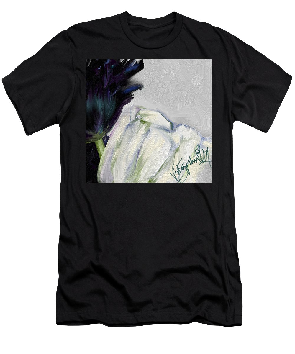 Black And White Tulips On Neutral Background Men's T-Shirt (Athletic Fit) featuring the digital art Fragile by Vivi Sojorhn