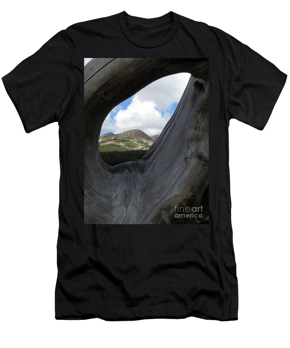 Mountains Sky Men's T-Shirt (Athletic Fit) featuring the photograph Framed In Wood by Steven Parker