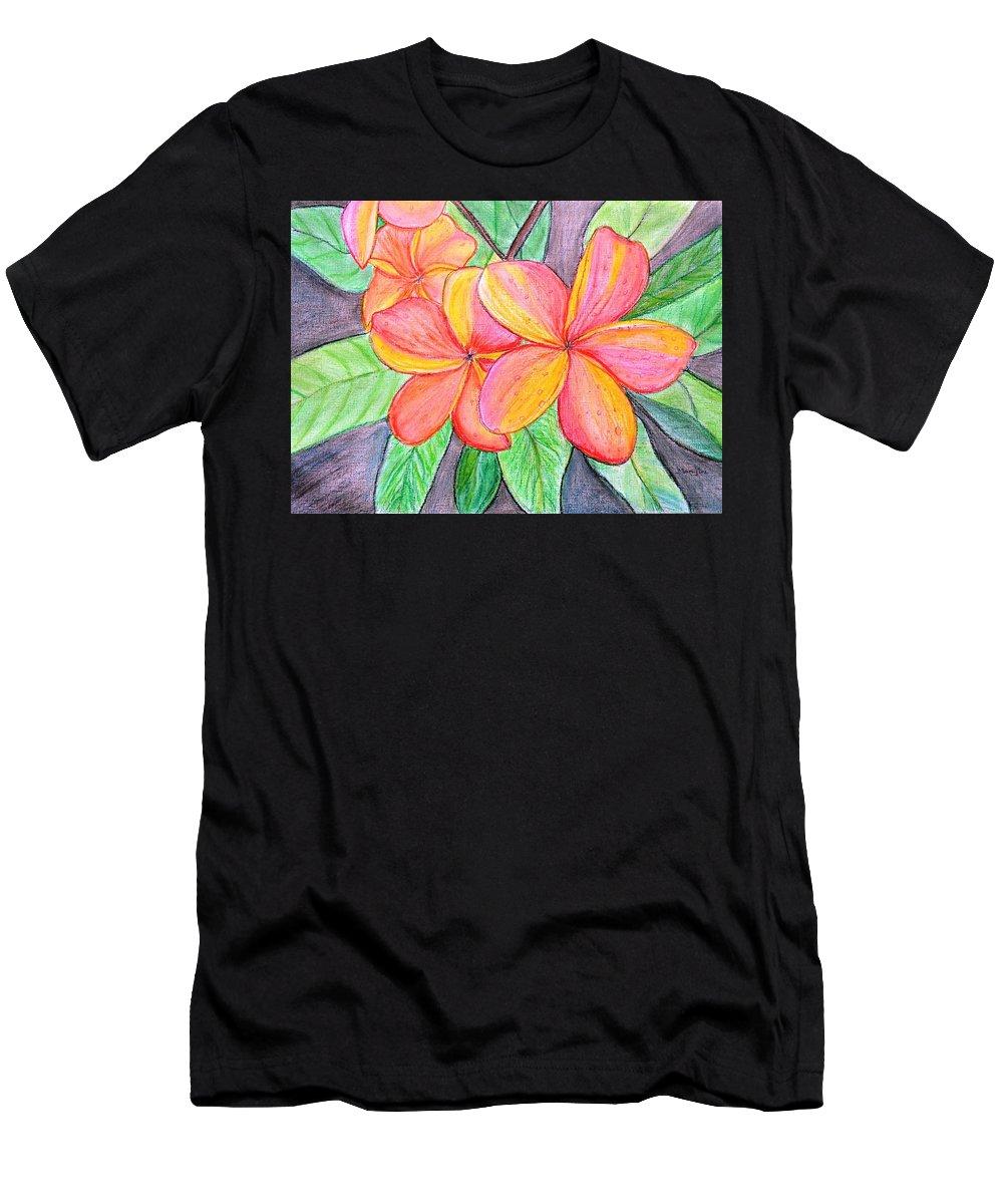 Frangipani T-Shirt featuring the painting Frangipani Blossom by Manjiri Kanvinde