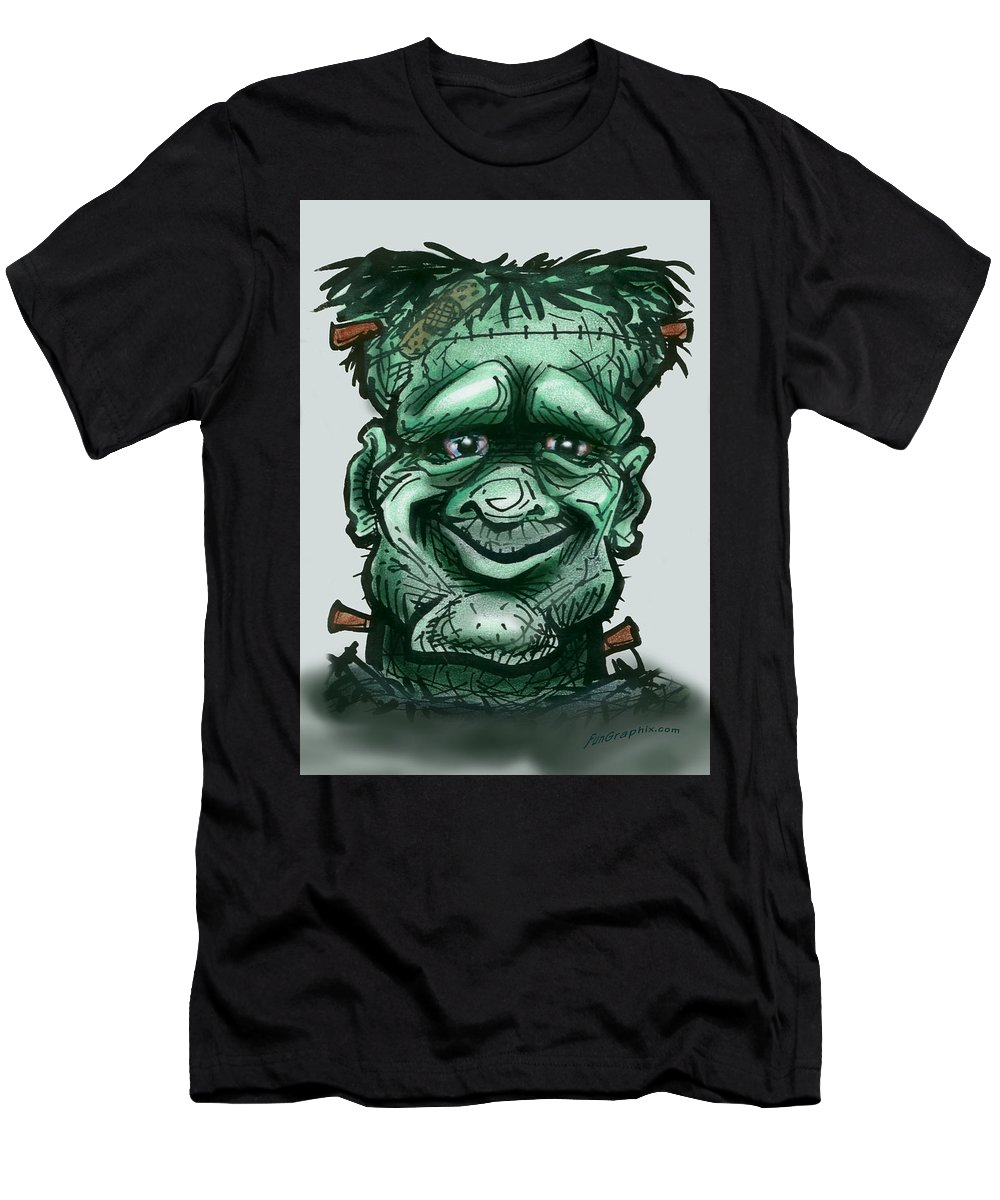 Frankenstein Men's T-Shirt (Athletic Fit) featuring the greeting card Frankenstein by Kevin Middleton