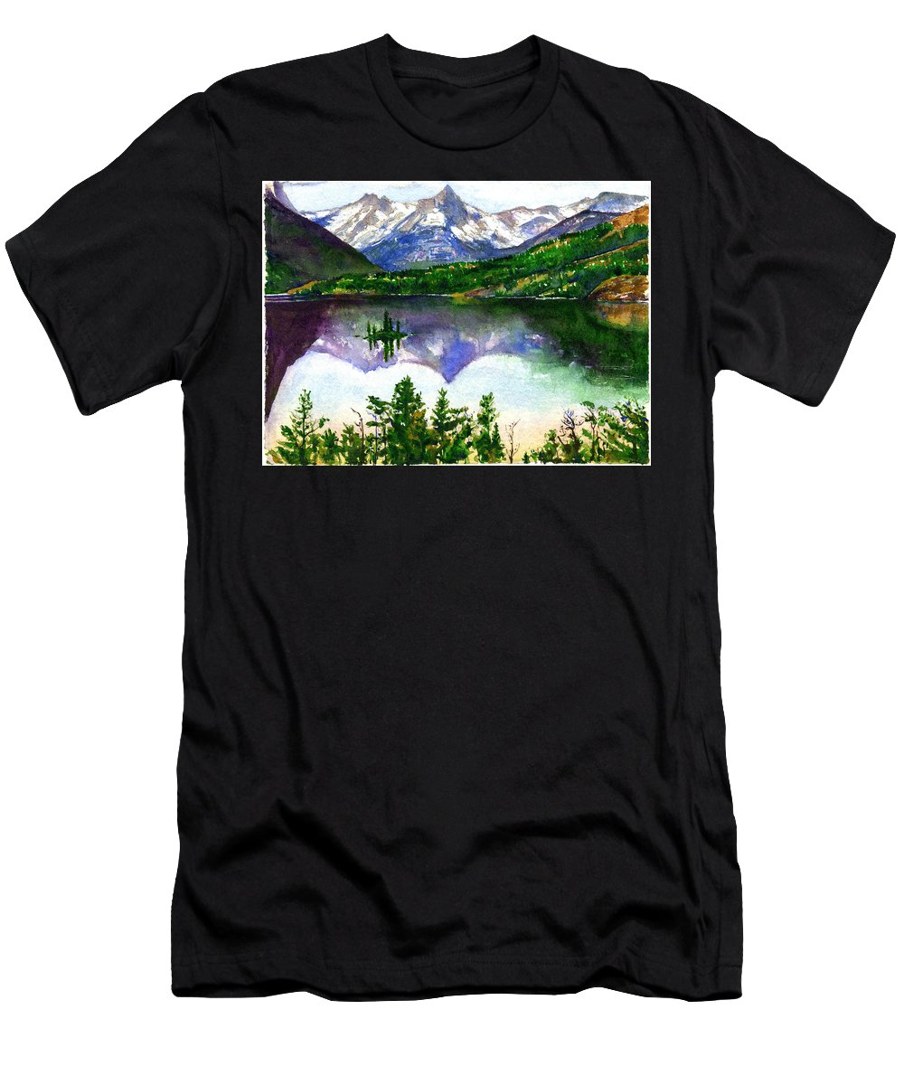 Watercolor Men's T-Shirt (Athletic Fit) featuring the painting Franks Painting by John D Benson