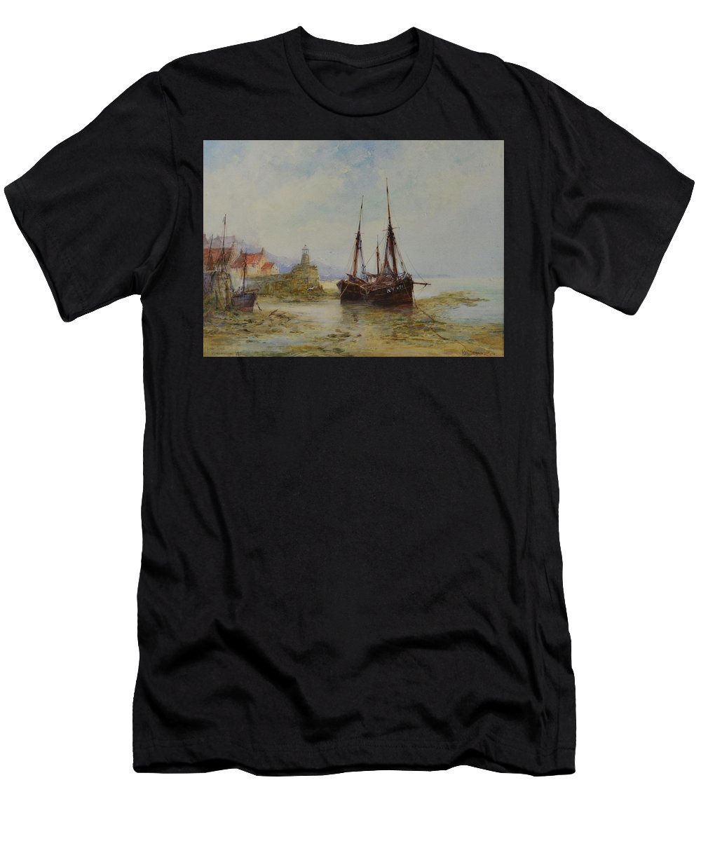 Frederick W. Scarborough (1860-1939) Low Tide Men's T-Shirt (Athletic Fit) featuring the painting Frederick W Scarborough by MotionAge Designs