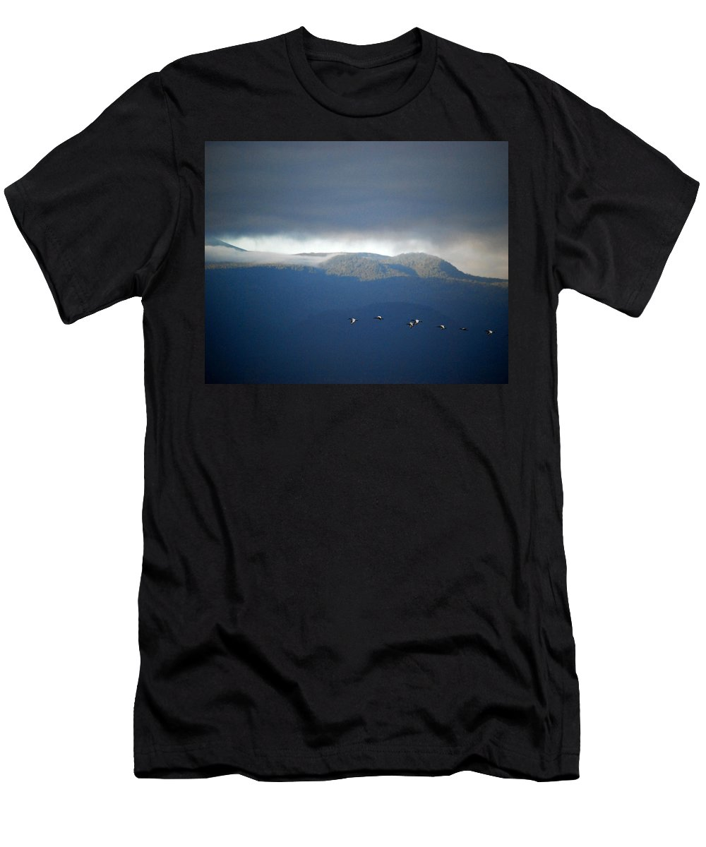 Kenya Men's T-Shirt (Athletic Fit) featuring the photograph Free Flying by Pamela Peters