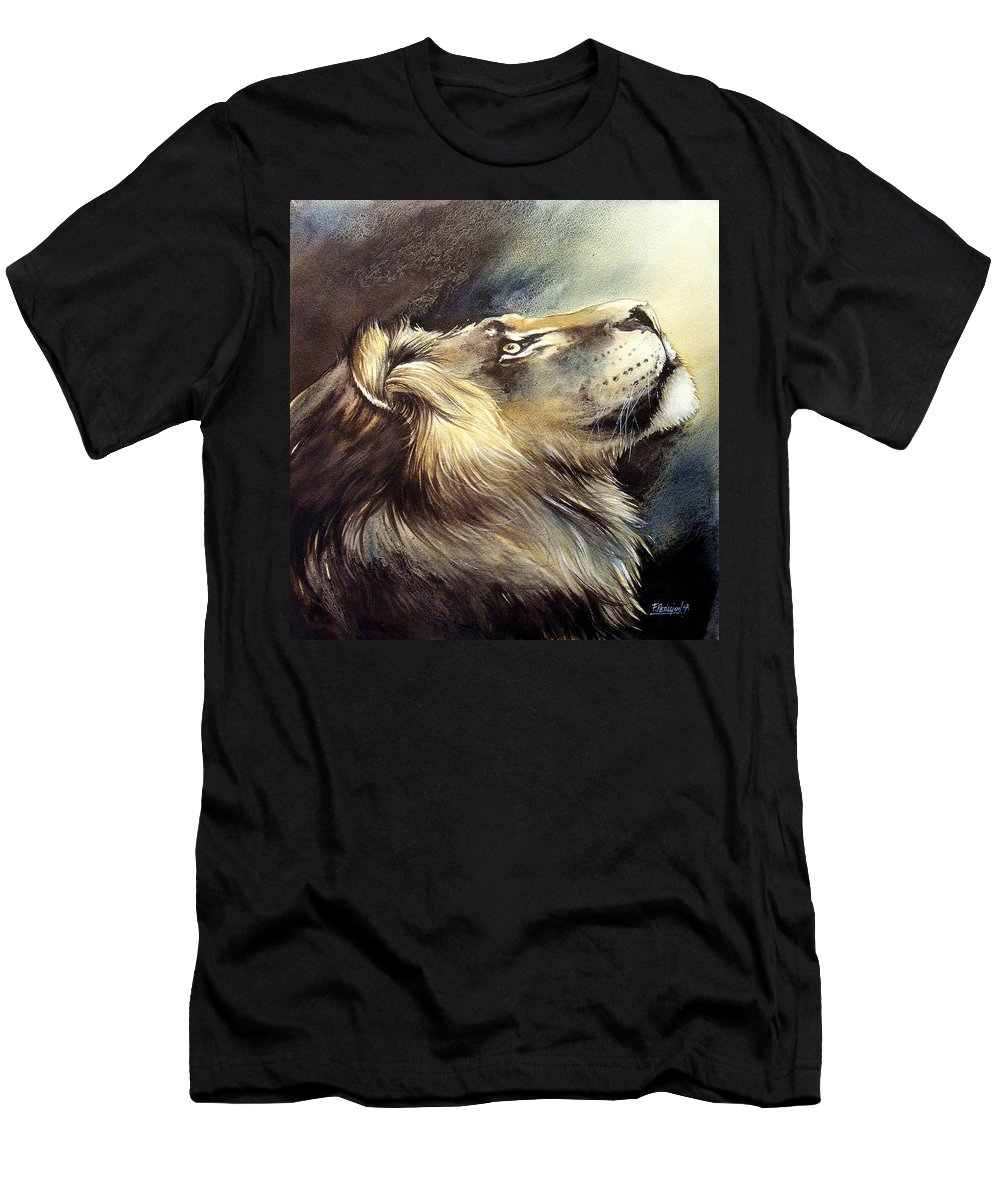 Watercolor Men's T-Shirt (Athletic Fit) featuring the painting Free King by Fabien Petillion